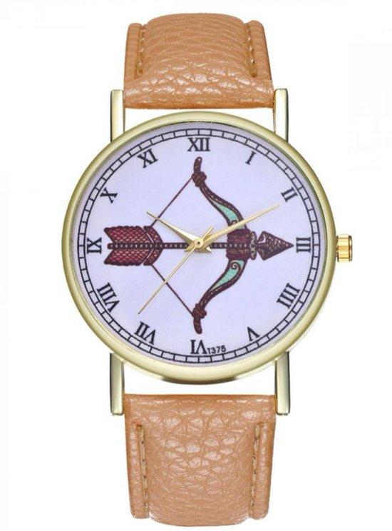 Hidzo Horloge Pijl en Boog Ø 38 - Beige - Kunstleer - In Horlogedoosje