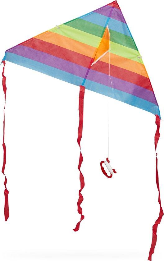 relaxdays Vlieger - 1 lijns vlieger - eenlijner - kite - stuntvlieger - delta vlieger A - Meerkleurig