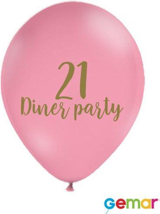"""Ballonnen """"21 Diner party"""" Pink met opdruk Goud"""