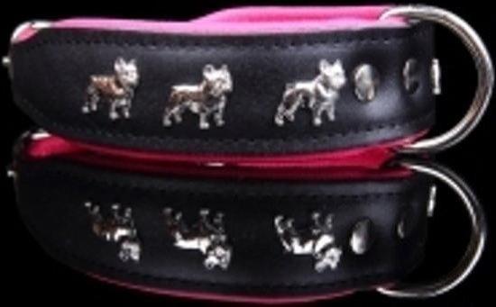 Dog's Companion Leren Halsband - Franse Bulldog - 40-47 cm x 50 mm - Zwart/Roze