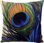 Peacock Feather Pauw Kussenhoes | Katoen - Linnen | 45 x 45 cm