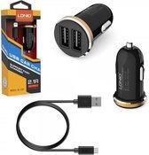 LDNIO C22 Zwart 2 USB Port Autolader 2.1A met 1 Meter Micro USB Kabel geschikt voor o.a Samsung Galaxy A3 A5 A7 J1 J3 J5 J7 2015 2016