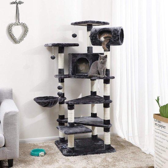 XXL Luxe Katten Krappaal Met Hangmat & Kattenhuisjes - Activity Center - Grote  Krappaal Klimpaal - 165 CM Hoog - Grijs/Zwart