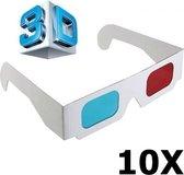 10 Stuks - 3D Red-Cyan Papieren Bril