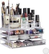 Relaxdays Make-up Organizer - Tweedelig - Cosmetica Opbergdoos - Transparant