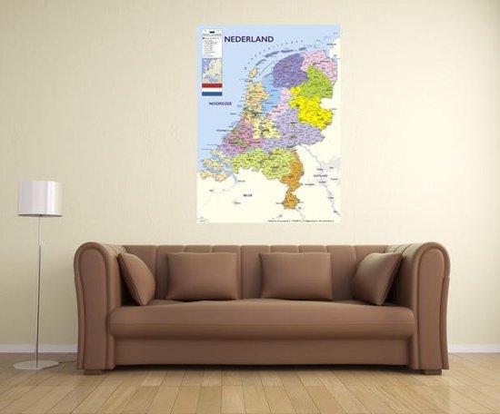 Poster  Nederland kaart drukgang  2021  groot - 70x100cm -luxe papier met UV-lak- Multi-Wanddecoratie