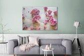 Paarse bloemkool in stukjes op houten tafel Canvas 180x120 cm - Foto print op Canvas schilderij (Wanddecoratie woonkamer / slaapkamer) XXL / Groot formaat!