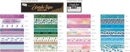 Washi Tape 40pcs x 3 meter | 40 verschillende designs | Bullet Journal | Craft Sensations