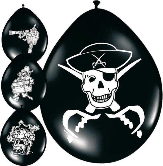 64x stuks Piraten ballonnen versiering - Feestartikelen piraat thema