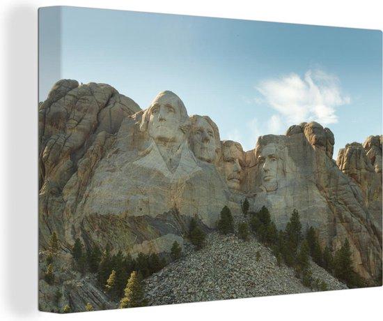 Beroemde Mount Rushmore met opkomende zon achter het monument Canvas 180x120 cm - Foto print op Canvas schilderij (Wanddecoratie woonkamer / slaapkamer) XXL / Groot formaat!