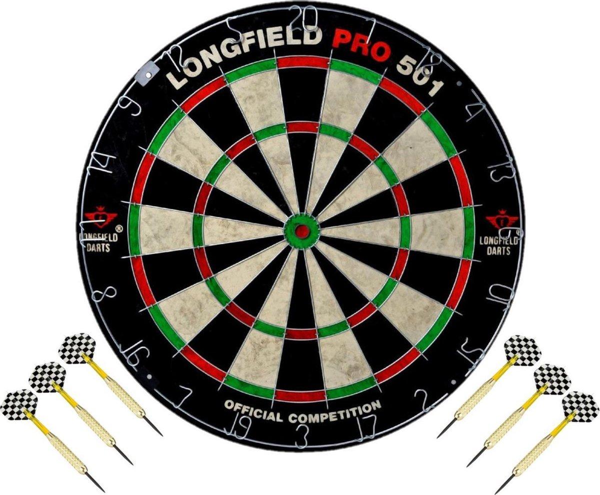 Dartbord set compleet van diameter 45.5 cm met 6x dartpijlen van 21 gram - Longfield professional - Darten