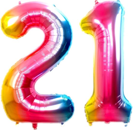 Ballon Cijfer 21 Jaar Regenboog Verjaardag Versiering Cijfer Helium Ballonnen Gekleurde Feest Versiering 86 Cm Met Rietje