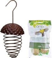 IJzeren voederveer voor vetbollen/mezenbollen eikelvorm 23 cm met vogelvoer vetbollen 6 stuks - Zangvogels voederen
