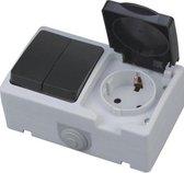 Buitenstopcontact - Serieschakelaar - Opbouw - Enkel/Dubbel - Geaard - Waterdicht IP54 - BES LED