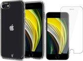 iPhone SE 2020 Hoesje Transparant - Siliconen Case + Screenprotector