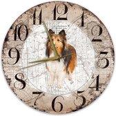 Houten Klok - 30cm - Hond - Collie