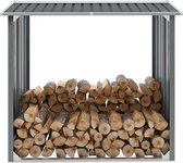 Haardhoutschuur 172x91x154 cm gegalvaniseerd staal grijs (incl. Werkhandschoenen)