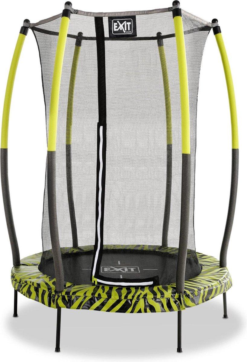 EXIT Tiggy junior trampoline met veiligheidsnet ø140cm - zwart/groen