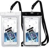 MMOBIEL 2 Stuks Waterdichte Telefoon Hoes - Waterproof Bag - Case - Pouch - Zak - Universeel - Geschikt voor alle Smartphones - tot 6 Inch - Volledig Transparant - Zwart & Wit