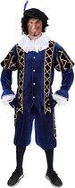 Luxe Piet pak blauw fluweel maat L + GRATIS PROFESSIONELE SCHMINK - fluwelen pietenpak kostuum goud zwart Sinterklaas festival