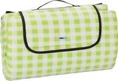 relaxdays Picknickkleed 200x200 - fleecedeken - outdoor kleed - strandkleed - groen-wit