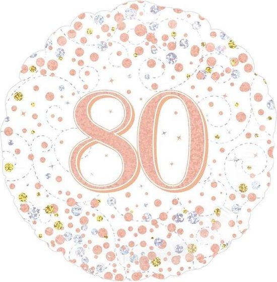 Folieballon - 80 Jaar - Holografisch - Rosé Goud - 45cm - Zonder vulling