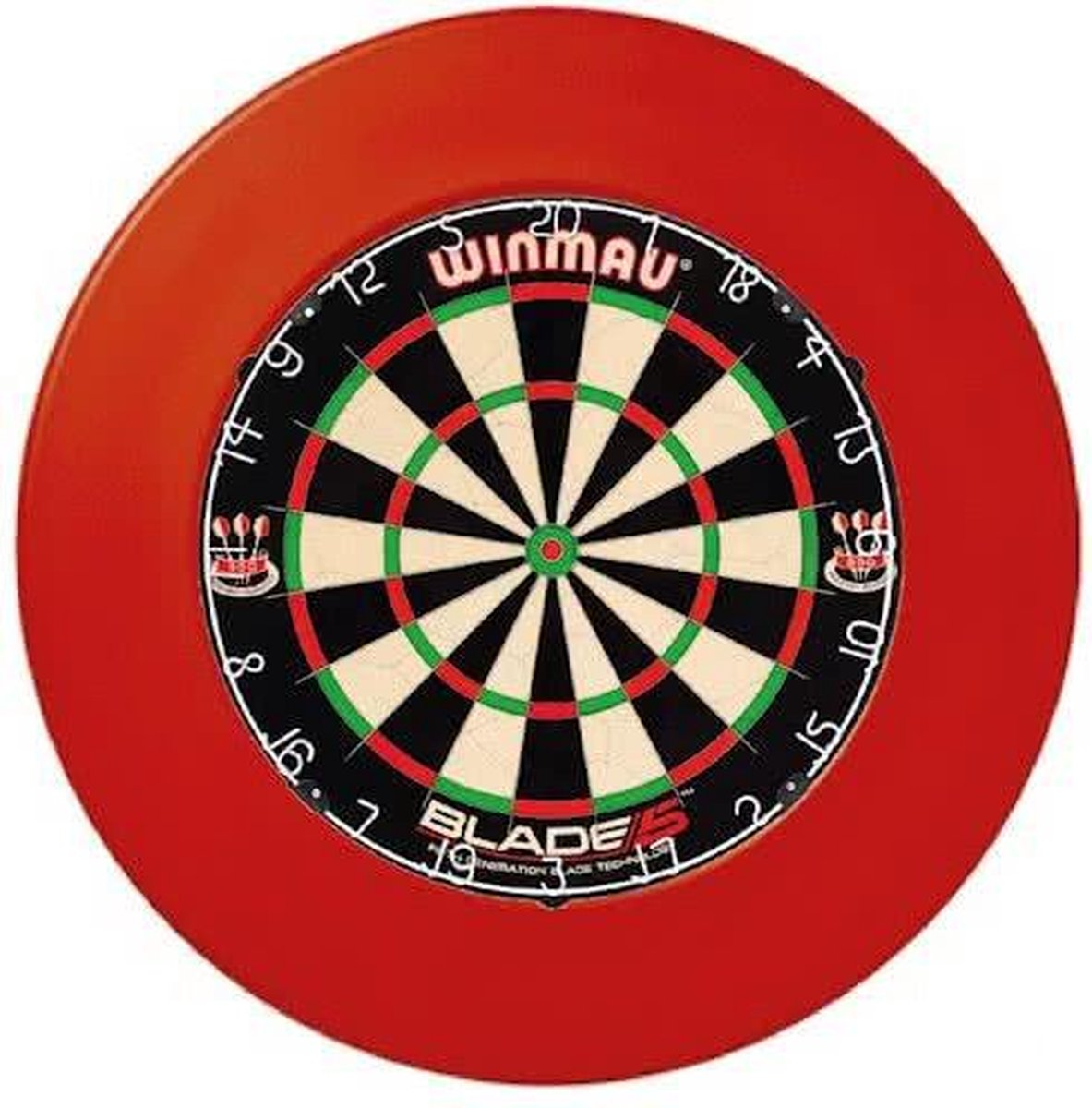 winmau blade 5 incl. rubberen surround ring rood en scorebord