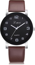 LVPAI Quartz Horloge | Bruin & Zwart | PU Lederen Band | Fashion Favorite