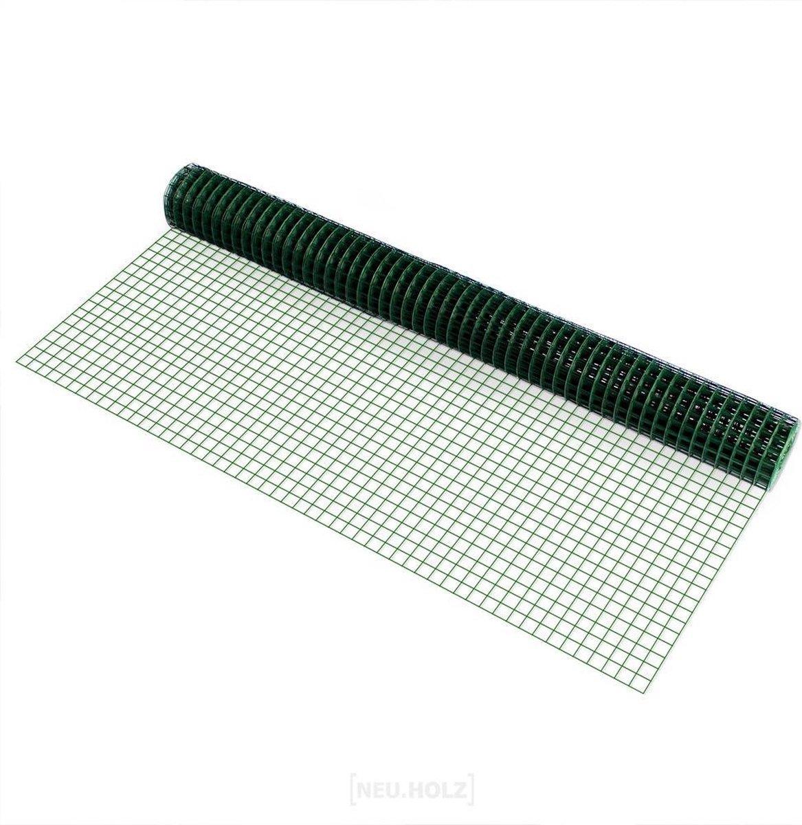 Kippengaas vierkant 19 mm geplastificeerd op rol 1x5 m groen