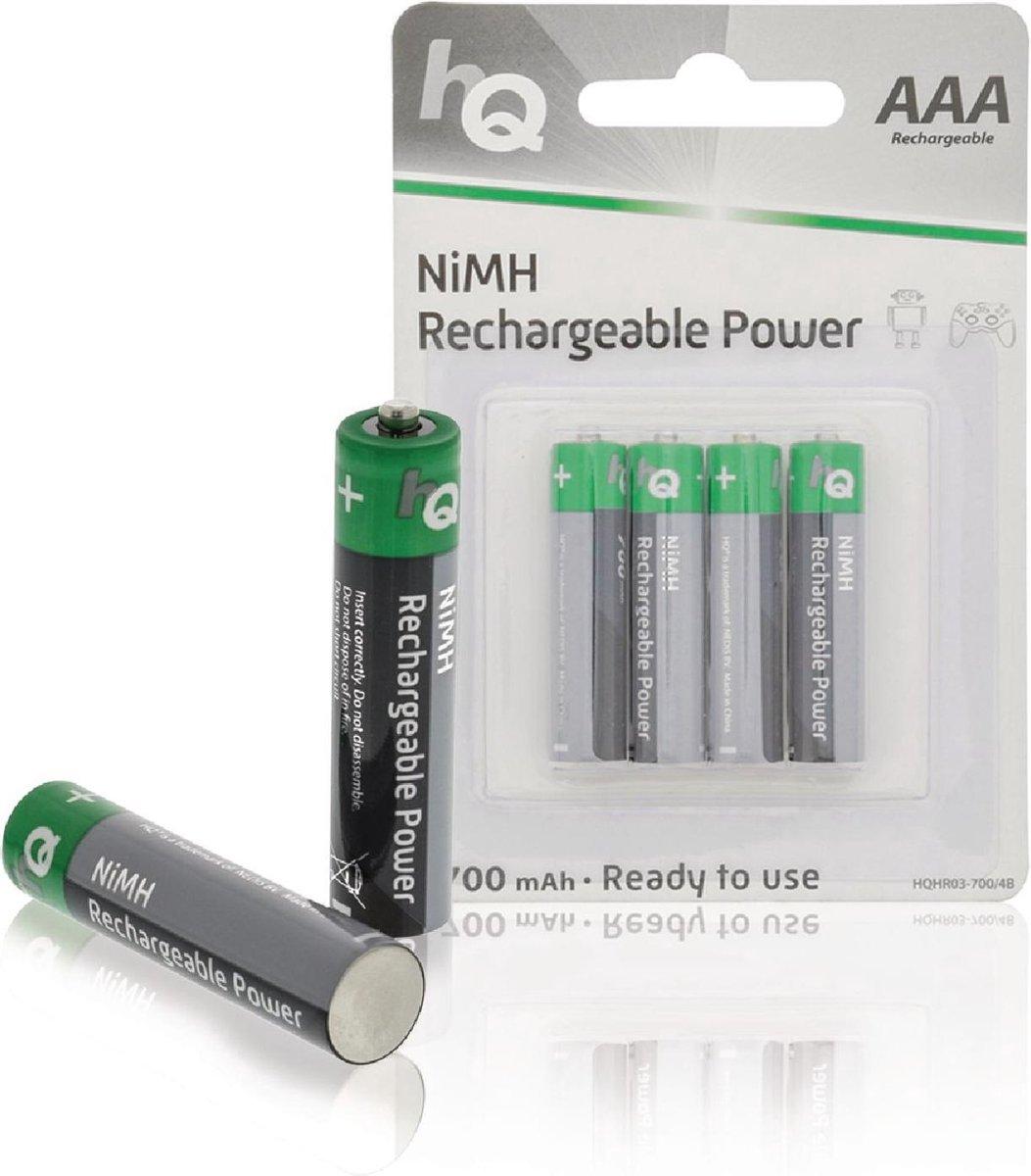 HQ, Oplaadbare NiMH AAA -Batterij 700 mAh, blister 4 stuks - HQ