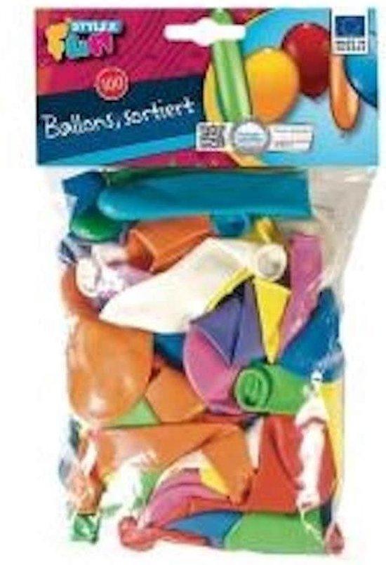 Ballonnen 100 stuks verschillende kleuren en vormen