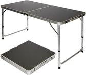 AMANKA opvouwbare kampeertafel 120x60x70cm in hoogte verstelbaardraagkofferformaat aluminium grijs