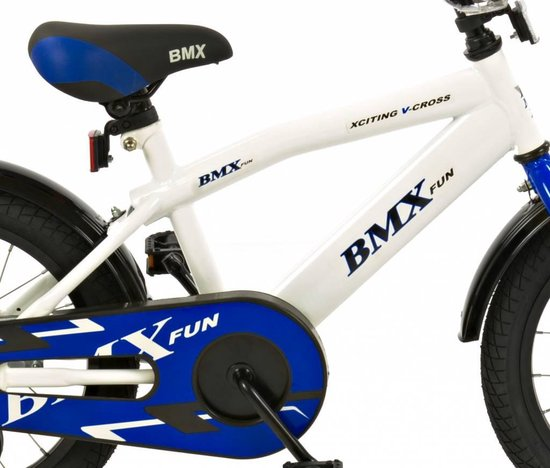 Jongensfiets 16 inch BMX wit-blauw (1601) - 2Cycle