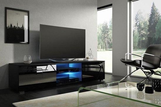 Modern Tv Meubel Zwart.Bol Com Tv Kast Hoogglans Zwart Modern Design Inclusief Led