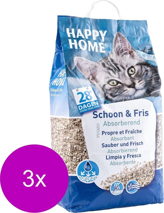 Happy Home Clean Fresh - Kattenbakvulling - 3 x 20 l