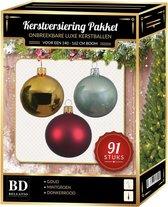 Kerstbal en piek set 91x licht goud-donkerrood-mintgroen voor 150 cm boom - Kerstboomversiering