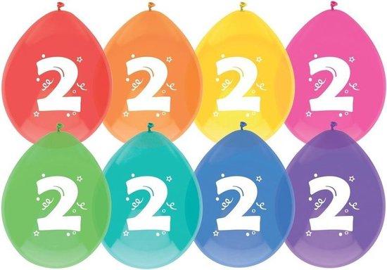 8x Ballonnen 2 jaar - Verjaardag - Kinderfeestje - Leeftijd versiering