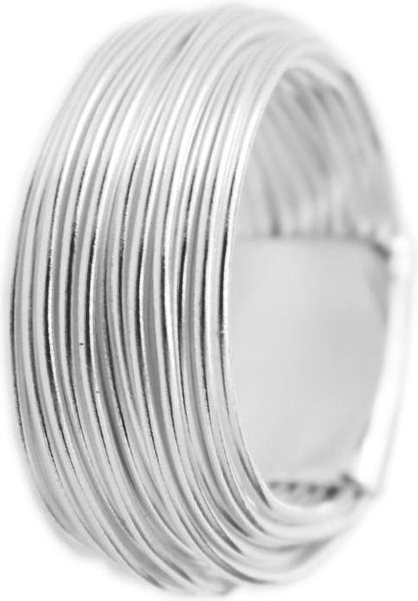Brede Zilveren Ring - Handgemaakt - Zilverdraad Ring - 18.0mm - Lazy Cat