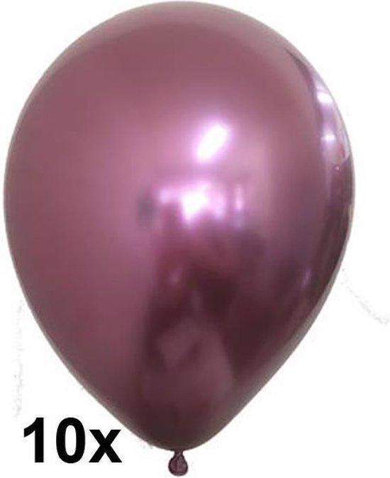Chrome ballonnen, Roze, 10 stuks, 30 cm