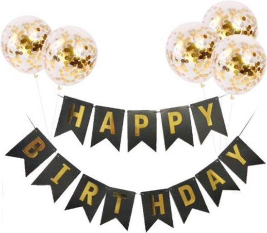 Verjaardag slinger goud zwart met 5 gouden confetti ballonnen