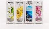 DVSE - Essentiële Etherische Olie, 4x Lazy Sunday geuren: Jasmijn, Osmanthus, Oceaan, Lelie. Relax geuren. Geschikt voor Aroma Diffuser, Geur verdamper, Luchtbevochtiger