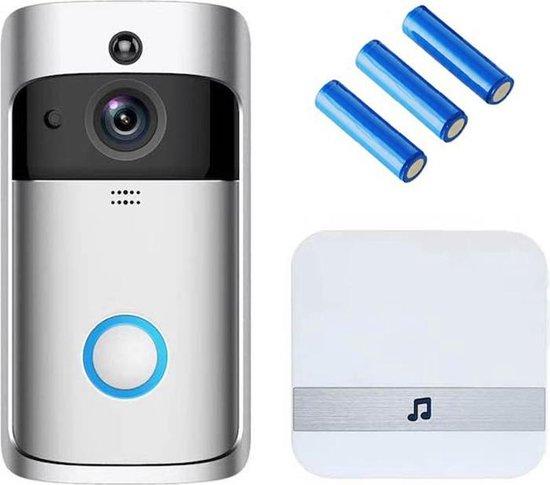 Video V5 -  deurbel met camera – NL Handleiding – Draadloze deurbel met camera – inclusief gong + 3 oplaadbare batterijen – Video deurbel
