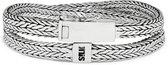 SILK Jewellery - Zilveren Wikkelarmband - Alpha - 356.18 - Maat 18