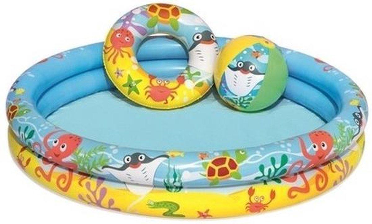 Kinder opblaas zwembad 122 x 20 cm - Inclusief reparatieset, strandbal en zwemband - Kinderbad - Opblaasbare zwembad