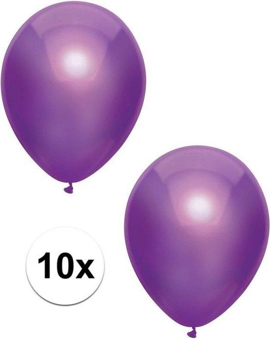 10x Paarse metallic ballonnen 30 cm