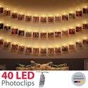 B.K.Licht LED foto lichtsnoer - kerstverlichting - 40 LED fotoclips - 5m - op batterijen