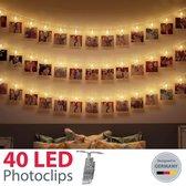 B.K.Licht LED foto lichtsnoer - fotolichtketen - 40 LED fotoclips - 5m - op batterijen - lichtslangen - Lichtketen voor foto's - polaroid