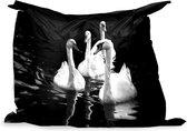 PillowMonkey zitzak - Vier zwanen in donker water - zwart wit - 140x100 cm - Binnen en Buiten