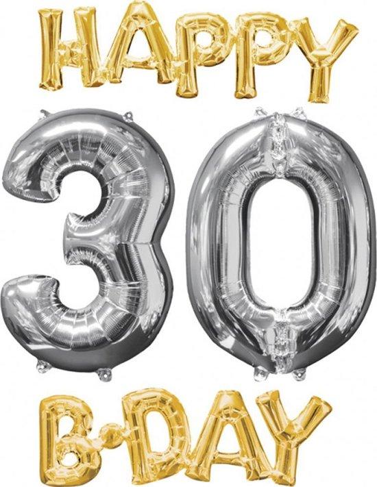 AMSCAN - 4 stijlvolle aluminium Happy Birthday ballonnen - Decoratie > Slingers en hangdecoraties