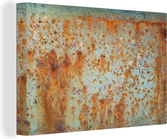 Oude boot met een roestige structuur 140x90 cm - Foto print op Canvas schilderij (Wanddecoratie woonkamer / slaapkamer)